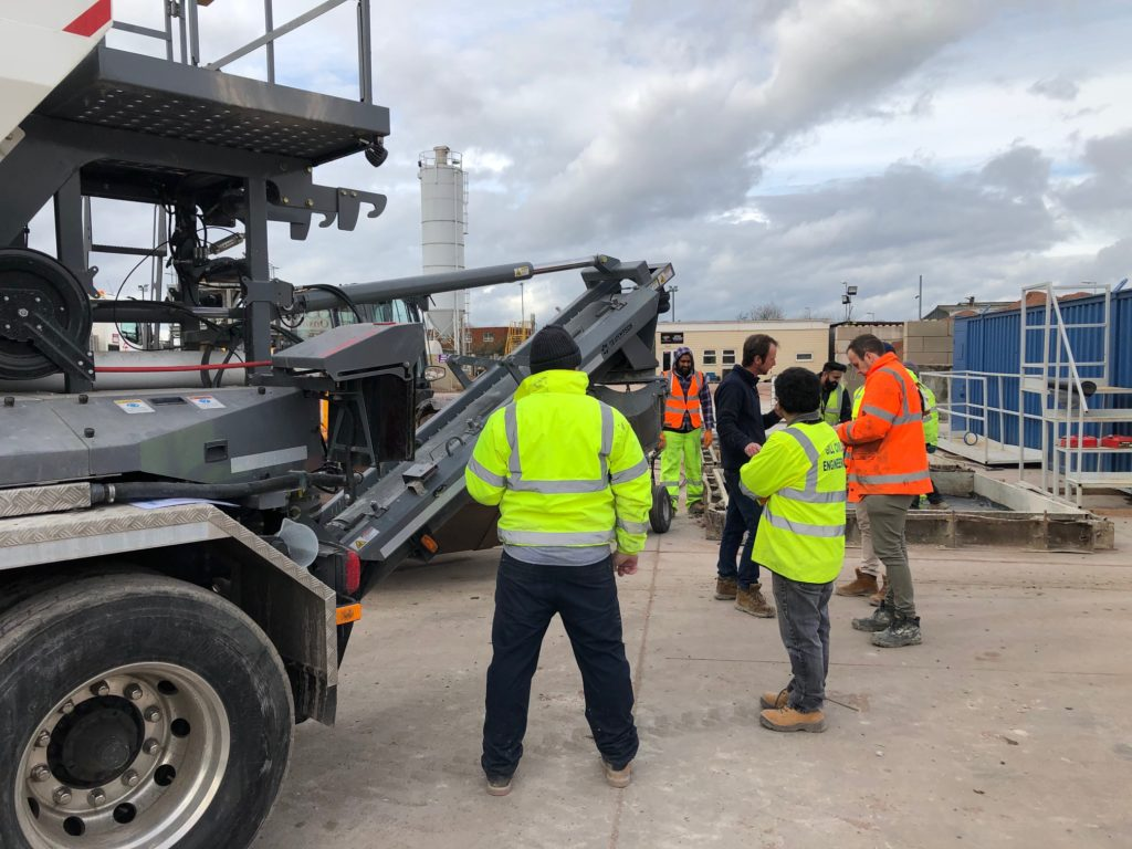 Concrete operators receive field training for using a Cemen Tech C60 volumetric mixer in the UK.